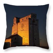 Sunset Grain Elevator At Meadows Throw Pillow by Steve Boyko