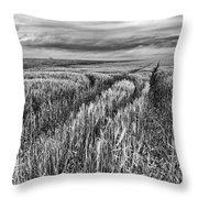 Grain Field Tracks Throw Pillow