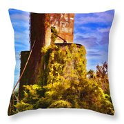 Grain Silos With Digital Painted Effect Throw Pillow