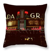 Night Lights Granada Theater Throw Pillow