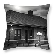 Train Depot At Night - Noir Throw Pillow