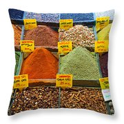 Grand Bazaar Spices In Istanbul Throw Pillow