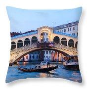 Grand Canal And Rialto Bridge At Dusk - Venice Throw Pillow