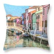Grand Canal Burano  Venice Throw Pillow