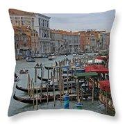 Grand Canal From Rialto Bridge Throw Pillow