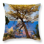 Grand Canyon National Park And Tree Throw Pillow