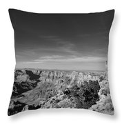 Grand Canyon National Park Mary Colter Designed Desert View Watchtower Near Sunset Black And White Throw Pillow