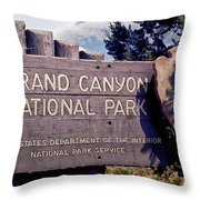 Grand Canyon Signage Throw Pillow