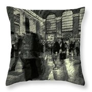 Grand Central Abstract In Black And White Throw Pillow