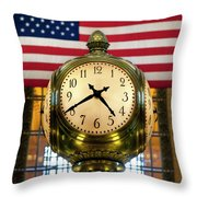 Grand Central Clock Throw Pillow