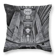 Grand Central Corridor Bw Throw Pillow