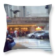 Grand Central Rain - 42nd Street Throw Pillow
