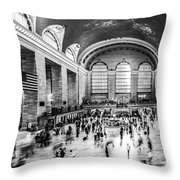 Grand Central Station -pano Bw Throw Pillow