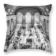 Grand Central Terminal Birds Eye View I Bw Throw Pillow