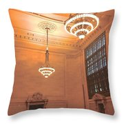 Grand Central Terminal Chandeliers Throw Pillow
