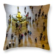Grand Central Terminal Clock Birds Eye View  Throw Pillow