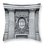 Grand Central Terminal Facade Bw Throw Pillow