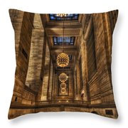 Grand Central Terminal Station Chandeliers Throw Pillow