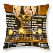 Grand Cerntral Terminal Clock No. 1 Throw Pillow