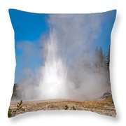 Grand Geyser In Upper Geyser Basin In Yellowstone National Park Throw Pillow