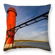 Grand Haven Lighthouse Throw Pillow by Adam Romanowicz