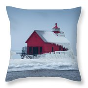 Grand Haven Lighthouse Encased In Ice Throw Pillow