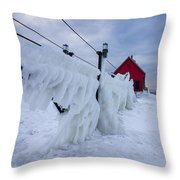 Grand Haven Lighthouse In Winter Throw Pillow