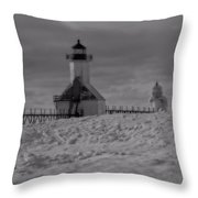 Saint Joseph Michigan Lighthouse In Winter Throw Pillow
