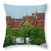 Grand Palace Of Thailand From Waterways Of Bangkok-thailand Throw Pillow