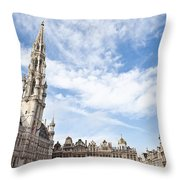 Grand Place In Brussels Belgium Throw Pillow