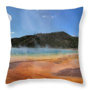Grand Prismatic Hot Spring Pool At Yellowstone National Park Throw Pillow