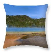 Grand Prismatic Spring In Yellowstone Panorama Throw Pillow