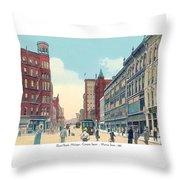 Grand Rapids - Michigan - Campau Square And Monroe Street - 1912 Throw Pillow