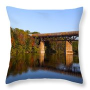 Grand River Autumn Freight Train Throw Pillow