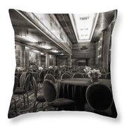 Grand Salon 05 Queen Mary Ocean Liner Bw Throw Pillow