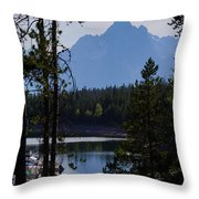 Grand Teton Framed By Cedars Throw Pillow