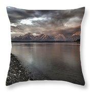 Grand Teton Mountain Range In  Grey And Pink Morning Sunlight Throw Pillow