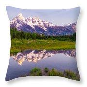 Grand Teton Reflection Throw Pillow