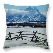 1m9306-grand Tetons From Ranch Country Throw Pillow