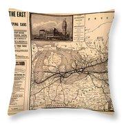 Grand Trunk Railway Map 1887 Throw Pillow