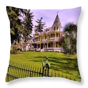 Grand Yellow Victorian And Gate Throw Pillow