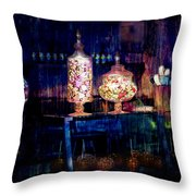Grandma Daisy's Candy Store Throw Pillow by Gunter Nezhoda