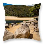 Granite Boulders In Abel Tasman Np New Zealand Throw Pillow