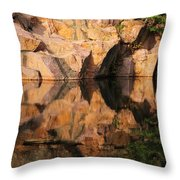Granite Cliffs And Reflections In A Quarry Lake Throw Pillow