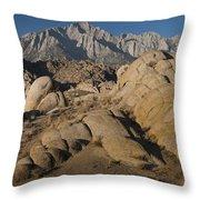Granite Rock Formations, Alabama Hills Throw Pillow