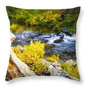 Granite Rocks Above The Cascading Feather River, Quincy California Throw Pillow