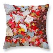 Granite Rocks Among Maple Leaves Throw Pillow