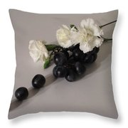 Grape Flavored Carnations Throw Pillow by Good Taste Art