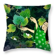 Grape Picking Throw Pillow