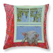 Grapes At The Window Throw Pillow by Ditz